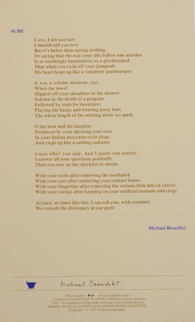 Tucson, AZ: The Grilled Flowers Press, 1977. First edition. Broadside printed in two colors that mea...