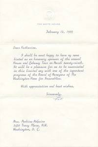 """TLS. 1pg. 6 ¼"""" x 9 ½"""". February 12, 1969. The White House. A typed letter signed """"Pat"""" to ..."""