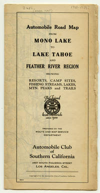 Automobile Road Map from Mono Lake to Lake Tahoe and Feather River Region.