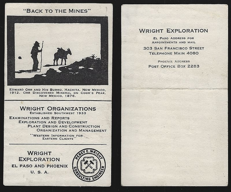 Image for BUSINESS CARD FOR WRIGHT EXPLORATION, EL PASO AND PHOENIX