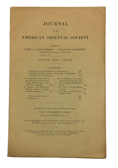 New Haven: Published for the American Oriental Society by Yale University Press, 1919. Paperback. Ve...