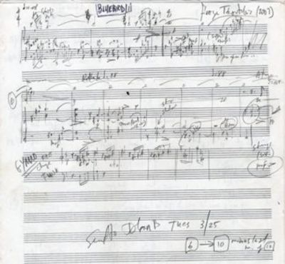5 pp. Folio (355 x 280 mm.). Notated in pencil with additional markings in coloured ink. Signed and ...