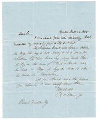 One page autograph lettere signed to Ernest Fiedler, Esq. concerning the legal case of Hart vs. Hart