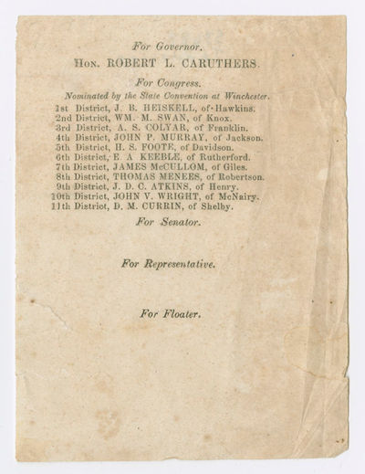 [Winchester, 1863. Broadside, 5 x 3 3/4 inches. Toned, minor soiling and wrinkling. Very good. An ex...