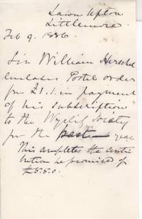 image of Autograph Letter in the third person (Sir William James, 1833-1917, 2nd Baronet and Bengal Civil Servant,