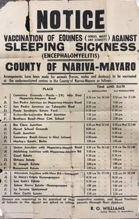 Notice - Vaccination of Equines (Horses, Mules and Donkeys) Against  Sleeping Sickness (Encephalomyelitis) - County of Nariva-Mayaro