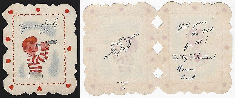 VINTAGE VALENTINE CARD BOY WITH TELESCOPE, Valentine