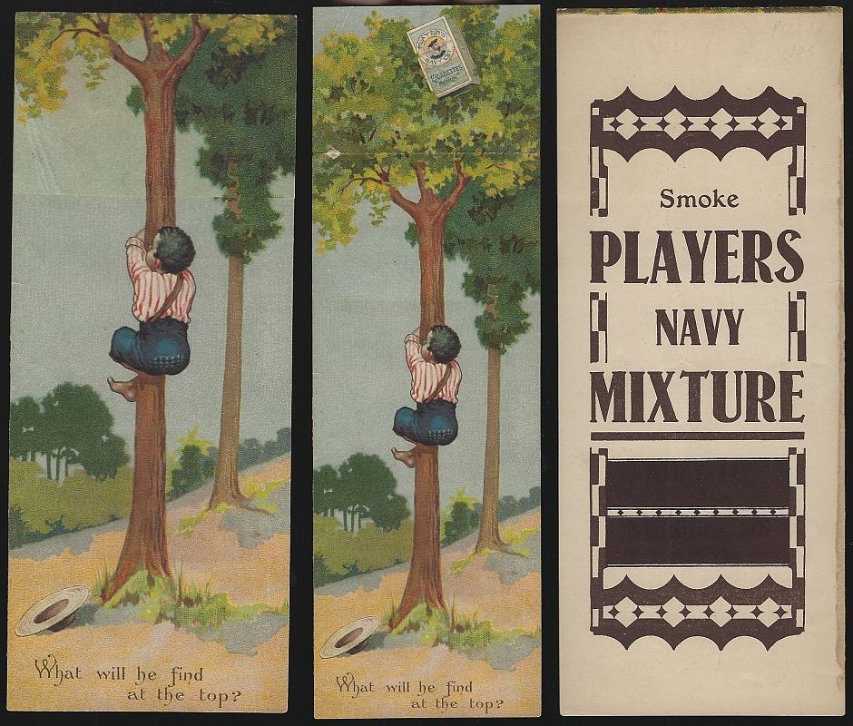 PLAYER CIGARETTES ADVERTISEMENT, AFRICAN AMERICAN BOY CLIMBING TREE, Advertisement