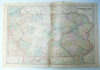 1889 Color Map of the State of Pennsylvania