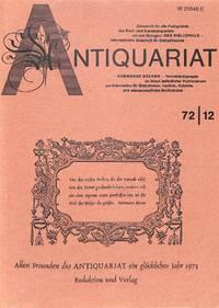 Zeitschrift 1972/ 12, 22. Jahrgang: Allen Freunden Des Antiquariat Ein  Glücklisches Jahr 1973 (redaktion Und Verlag).