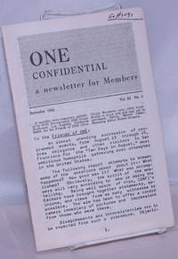 image of One Confidential: a newsletter for members; vol. 11, #9, September, 1966