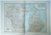 1889 Color Map of Wisconsin and Michigan