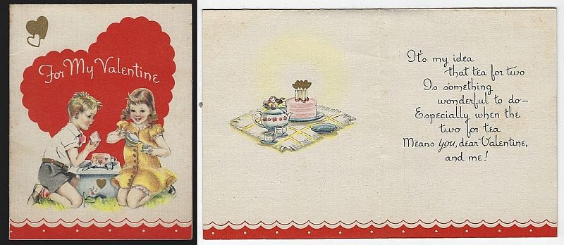 VINTAGE VALENTINE CARD WITH BOY AND GIRL HAVING TEA PARTY, Valentine