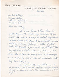 image of AUTOGRAPH LETTER TO EDUCATOR HAROLD RUGG SIGNED BY MODERN DANCE CHOREOGRAPHER AND AVANT-GARDE THEATER DIRECTOR JEAN ERDMAN.