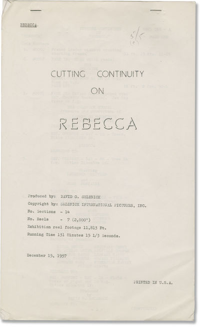 Los Angeles: Selznick International Pictures, 1957. Post-production Cutting and Continuity script fo...