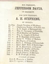 Ballot for Confederate States of America Election for Jefferson Davis and  A. H. Stephens 1861