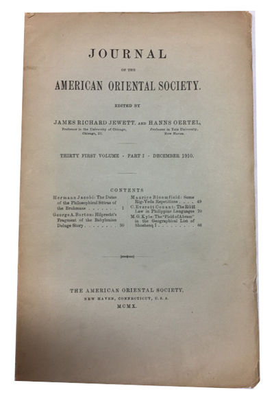 New Haven: American Oriental Society, 1910. Paperback. Good. 91p. Softcover in original wrapper. 25c...