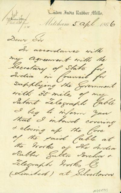1866. Very Good. Hooper, William (d. 1878). A.L.s. to Latimer Clark. London, April 5, 1866. 2pp. 202...