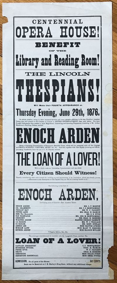 [Lincoln, Ne, 1876. About very good.. Broadside, 24.5 x 10 inches. Old fold lines. Some wear and soi...