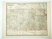 1889 Color Map of the State of Kansas
