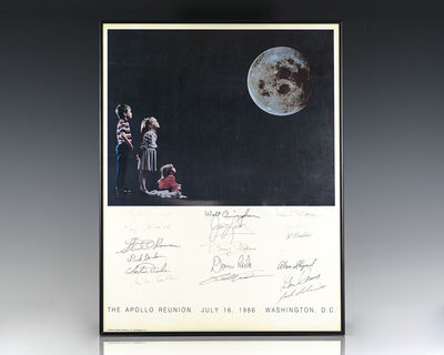 Rare original poster from The Apollo Reunion July 16, 1986 in Washington D.C. Signed by 18 Apollo As...