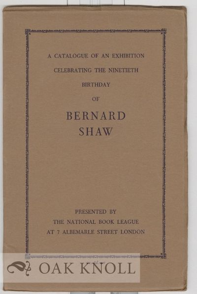 London: National Book League, 1946. paper wrappers. Shaw, George Bernard. 8vo. paper wrappers. 51, (...