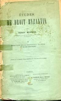 Etudes de Droit Byzantin: II. Meditation sur la Constitution 'Exateroi et le Jus Poenitendi