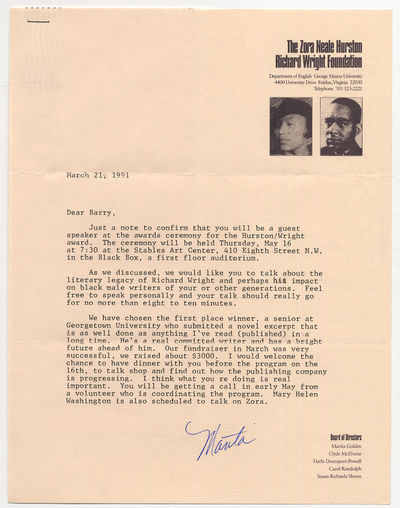 Unbound. Fine. Half page Typed Letter Signed. Dated March 21, 1991 on The Zora Neale Hurston Richard...