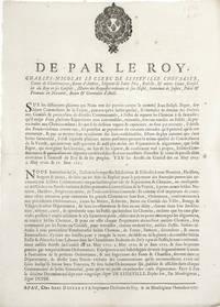 De Par Le Roy, Charles Nicolas le Clerc de Lesseville Chevalier, Cpomte de Charbonnieres...Sur...