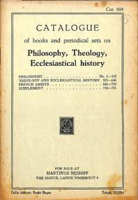 Catalogue 698/n.d.: Catalogue of books and periodical sets on Philosophy,  Theology, Ecclesiastical History.