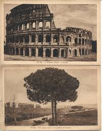 image of (2) Sepiatone Postcards Depicting Views of the Colosseum and the Aquaduct of Claudius in Rome Italy - circa 1910s - UNUSED