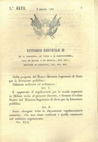 con cui si approva il regolamento per le scuole superiori a Milano e si abrogano tutte le disposizioni regolamentarie precedenti.