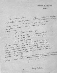 ALS, Handwritten letter, signed by French dramatist and poet, Henry Bataille
