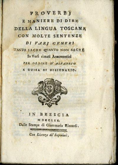 Brescia: Giammaria Rizzardi, 1770. First Edition. Softcover. Good Condition. Contemporary plain wrap...