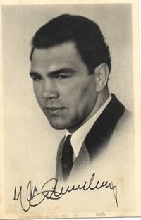 image of Postcard photo by Carstensen of Bergedorf, Hamburg, signed, (Max, 1905-2005, German Boxer, World Heavyweight Champion 1932-1934)