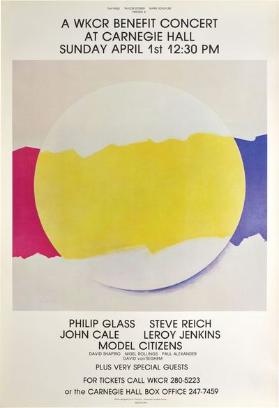 New York: Carnegie Hall, 1979. Original poster for a WKCR Benefit Concert at Carnegie Hall, featurin...