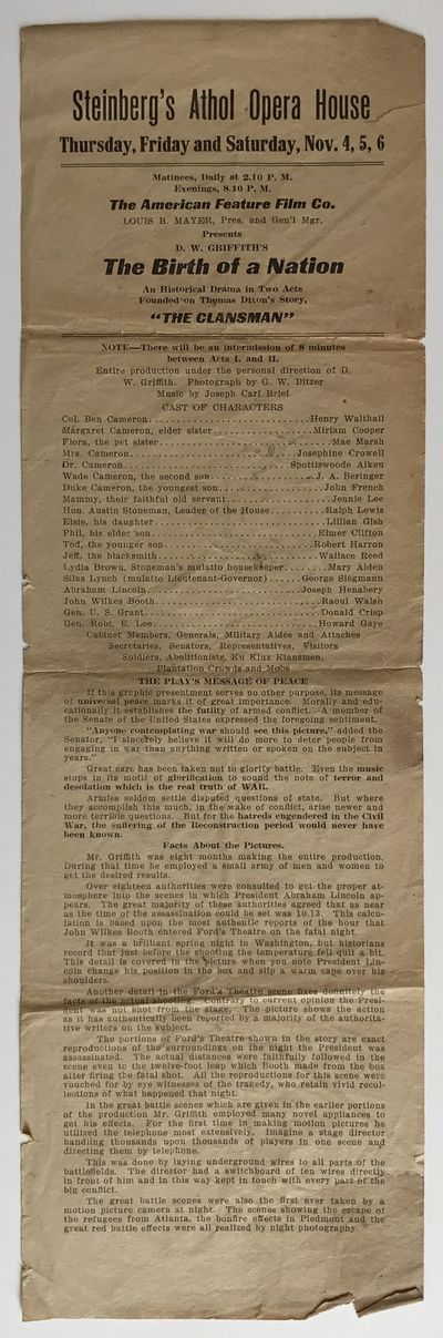 [Athol, Ma, 1916. Good plus.. Broadside, 16 x 5 inches. Previously folded. A couple of chips and sma...