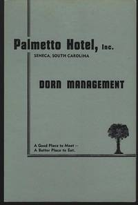 VINTAGE MENU FOR PALMETTO HOTEL, SENECA, SOUTH CAROLINA