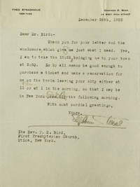"""Typed letter signed (""""Stephen S. Wise""""), to the Rev. P.S. Bird of First Presbyterian Church of Utica, about train to Utica and back"""