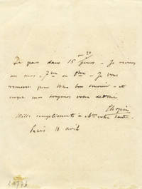 "Autograph letter signed (""Chopin""), possibly to the composer"