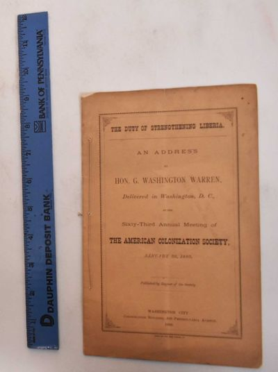 Washington City: The Society, 1880. Pamphlet. VG (light soiling to wraps, text and pages are otherwi...