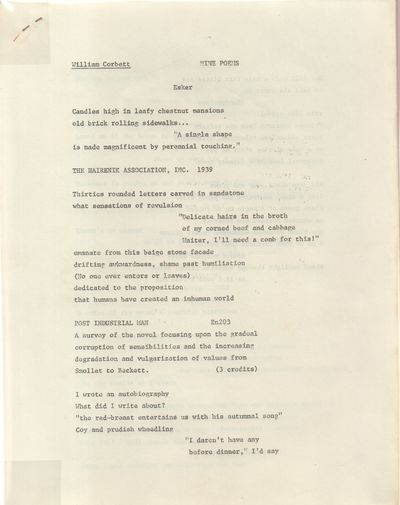 Gloucester, Massachusetts: Bezoar. Very Good with no dust jacket. 1977. Stapled Copies. Xerox copies...