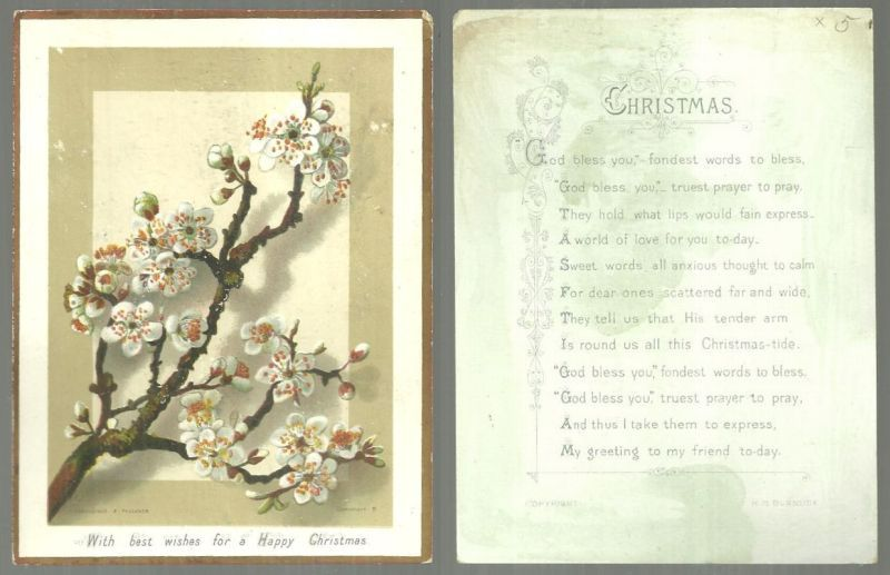VICTORIAN HILDESHEIMER AND FAULKNER CHRISTMAS CARD WITH APPLE BLOSSOMS AND BURNSIDE POEM, Christmas