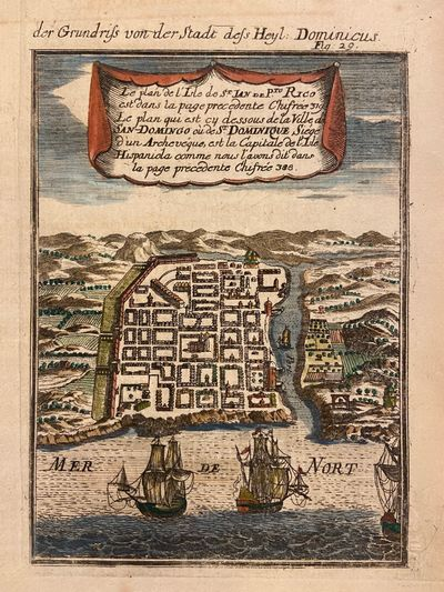 1710. Miniature view. Copper plate engraving with hand coloring. Image measures 6