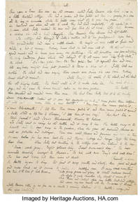 WAG-BY-WALL.  Original Manuscript in the Author's Handwriting to her last children's story.