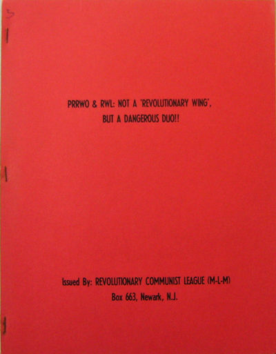 Newark: Revolutionary Communist League, 1976. First edition. Paperback. Fine. 4to. 28 pp political t...