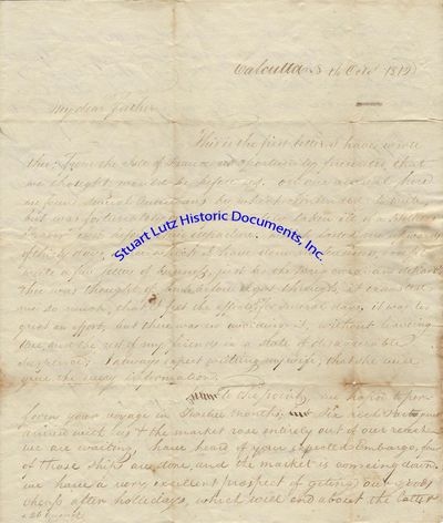 "(CALCUTTA, INDIA). ALS. 3pg. 8"" x 10"". October 1812. Calcutta. An early letter from India signed..."