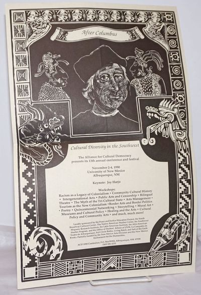 Albuquerque: The Alliance for Cultural Democracy 1990 Conference, 1990. 11x17 inch poster folded to ...