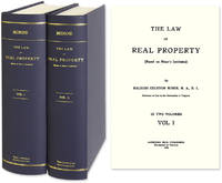 The Law of Real Property (based on Minor's Institutes). 1st ed. 1908