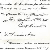 Benjamin Harrison Offers His First Congratulations to His Son on the Birth of His Grandson, Future Congressman William Henry Harrison With the estrangement of father and son, he had learned the news through the newspapers.